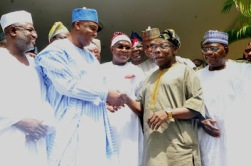 Image result for Saraki holds meets Obasanjo behind closed door in Abeokuta