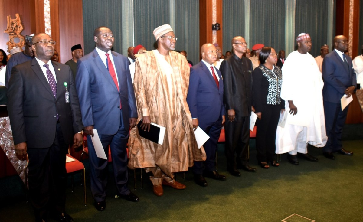 President Buhari swears in 8 new Permanent Secretaries